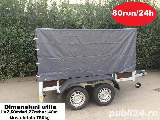 Inchiriez remorca auto 750kg /cu doua punti