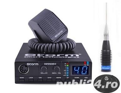 Pachet statie radio CB Storm Defender 3 ASQ 2019 Export 4-10-20 Watti plus antena Megawat ML145