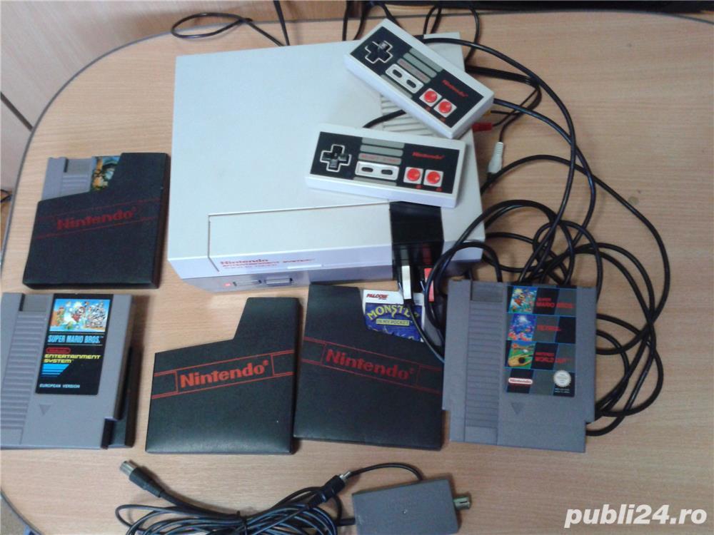 vand consola joc vintage, NES,PAL,nintendo entertainment system,cu 6 jocuri de top,4 manete