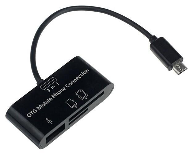 Cablu OTG 3 in 1 USB + SD/MMC + microSD -  microUSB nou/folie/cutie