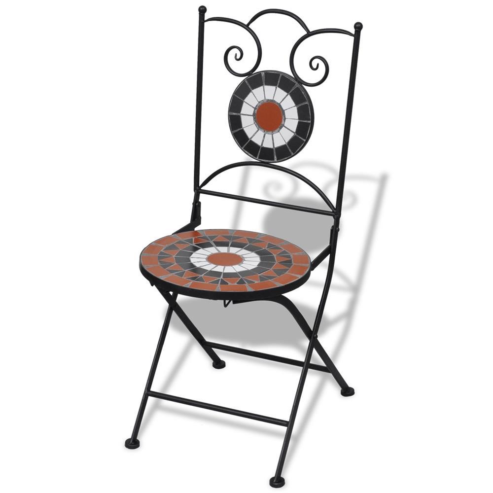 Set de 2 scaune din mozaic, culoare teracota si alb vidaXL (41535)