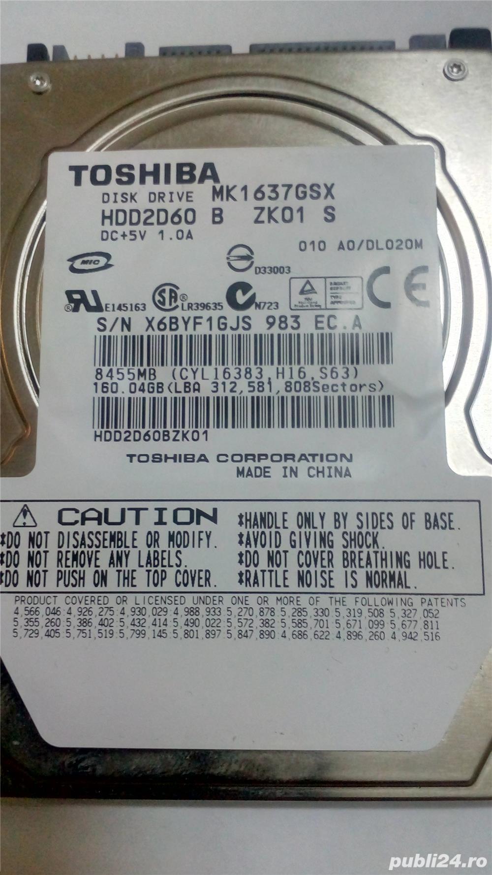 Hard laptop Toshiba MK1637GSX 160GB