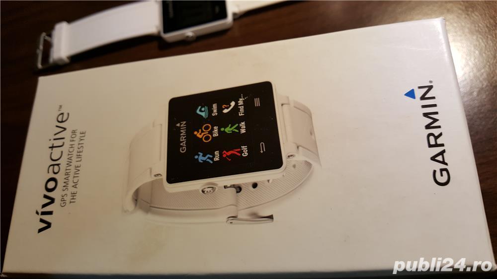 Smart Watch Garmin Vivoactive, display digital touchscreen, GPS incorporat,Culoare: alb