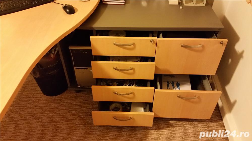 Set complet de mobila de birou (Birou reglabil, dulapuri, casetiera)