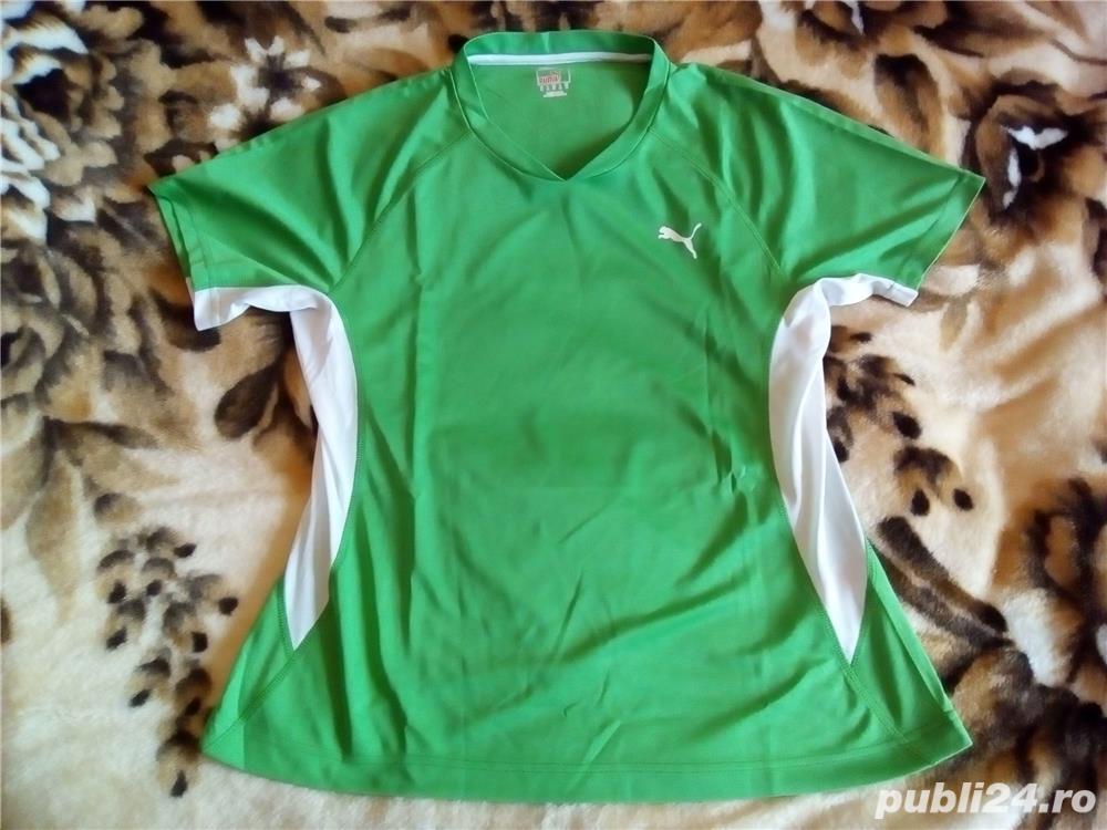 Tricou Puma nou XL femei, barbati L verde cu alb