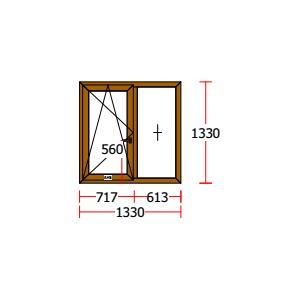 Fereastra PVC Salamander 5 camere Stejar Auriu 1330×1330 mm