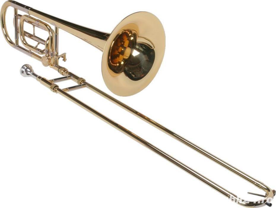 Tombon Karl Glaser Bb trombon cu F-atasament + trunchi Auriu