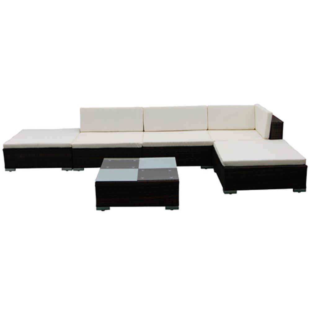 Set mobilier de gradina din poliratan 15 piese Maro 41256