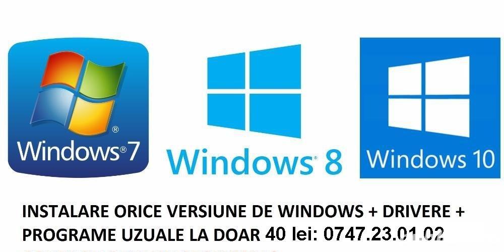instalez sisteme de operare Windows XP, 7, 8.1 si 10 in Pitesti