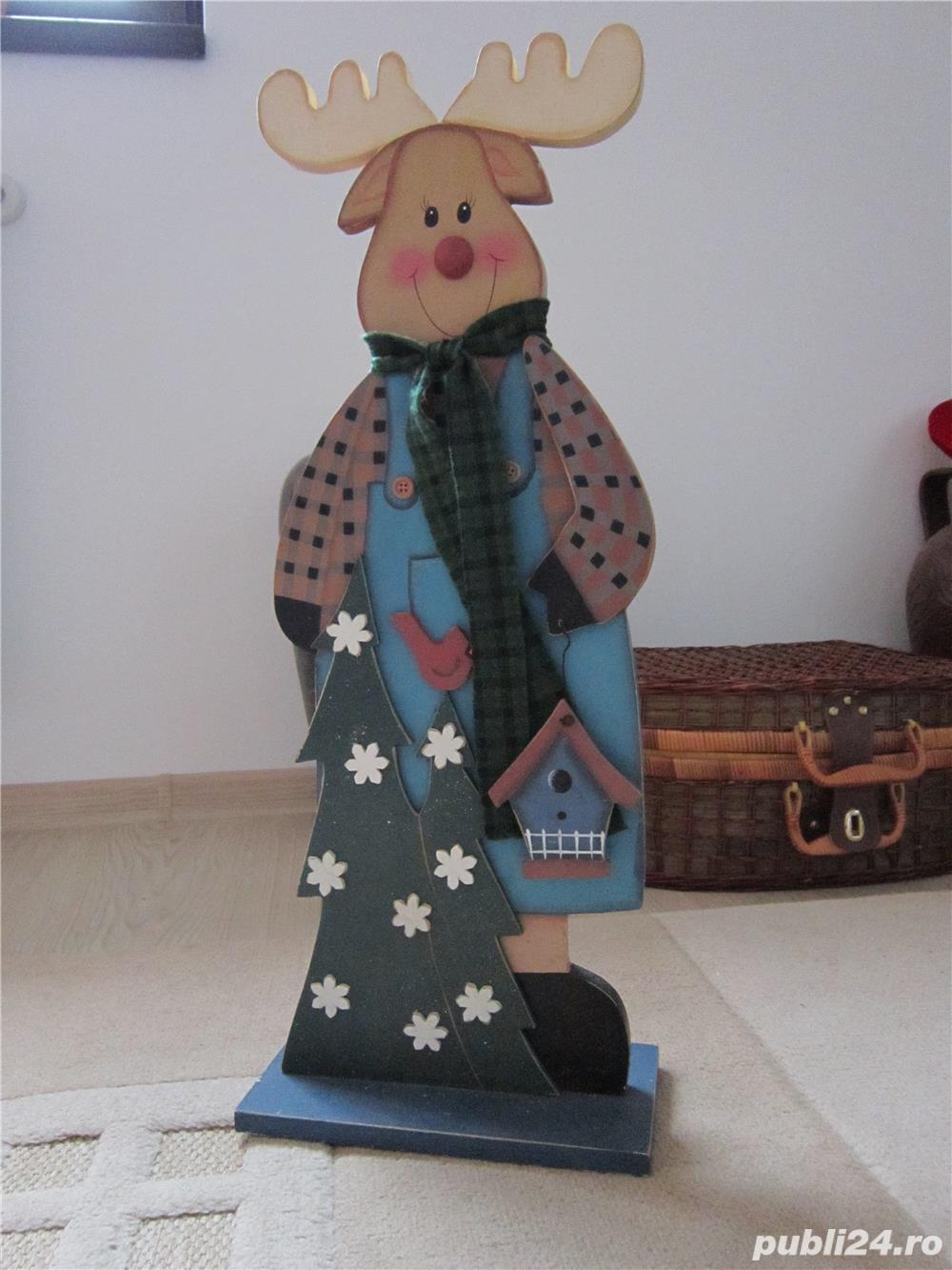cadou inedit -Decoratiune vintage Rudolph  -mare,lemn- impecabil