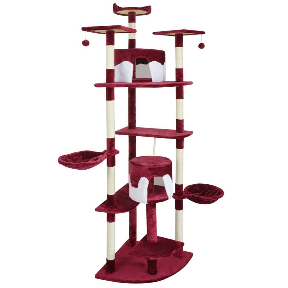 vidaXL Ansamblu pentru pisici, 213 cm, rosu si alb