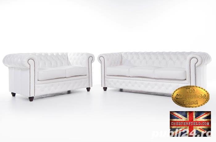 Set canapele  din piele naturala- Alb-2/3 locuri -Autentic Chesterfield Brand -IN STOC