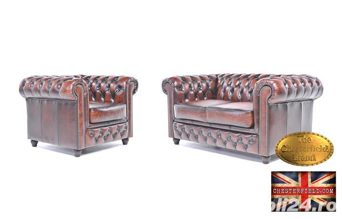 Set canapele din piele naturală -Maro Antique -1/2 locuri-Autentic Chesterfield Brand -IN STOC