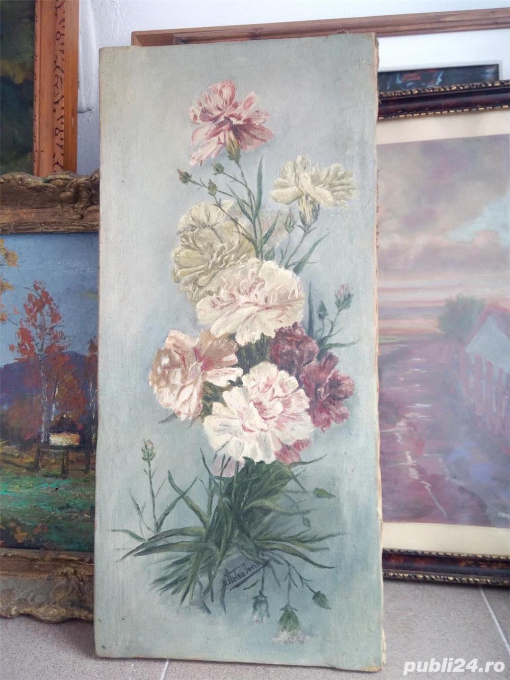 Tablou cu flori semnat ( Hetea ? Stelea Ion ? ) 50 x 25 cm ulei pe panza