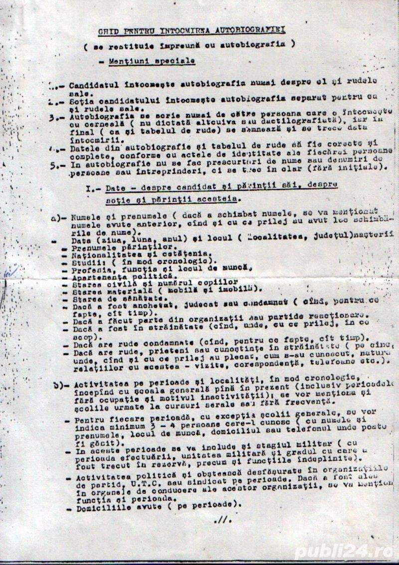 """""""Ghid pentru intocmirea autobiografiei"""" (document comunist)"""
