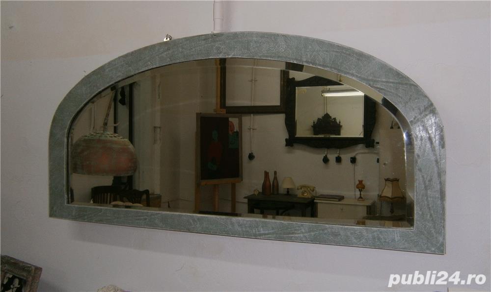 Oglinda veche din cristal cu rama din lemn, reconditionata (Mobila)