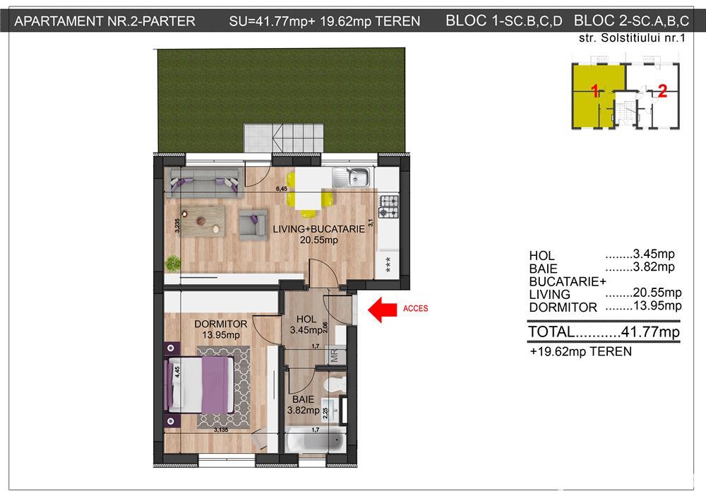 2 camere direct dezvoltator comision 0