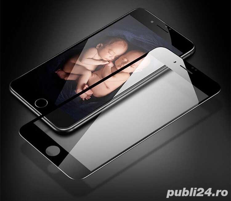 Folie sticla iphone 6/6S/7/8 cu rama neagra/alba