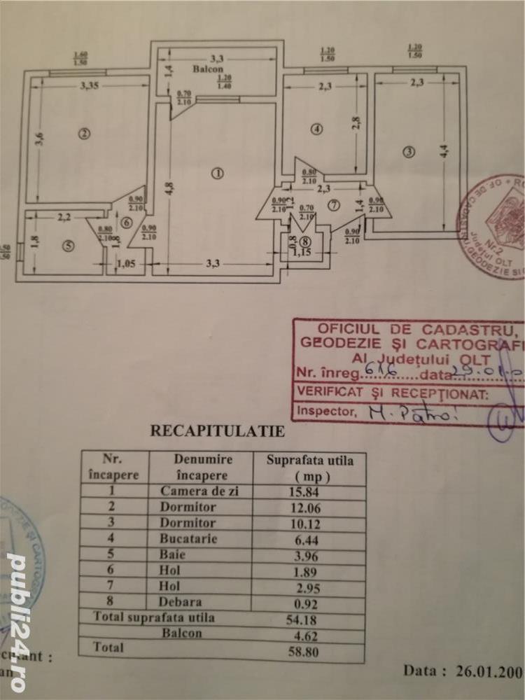 Vand apartament 3 camere in Slatina, str. Trandafirilor ,zona spital, etajul 4, nu are acoperis.