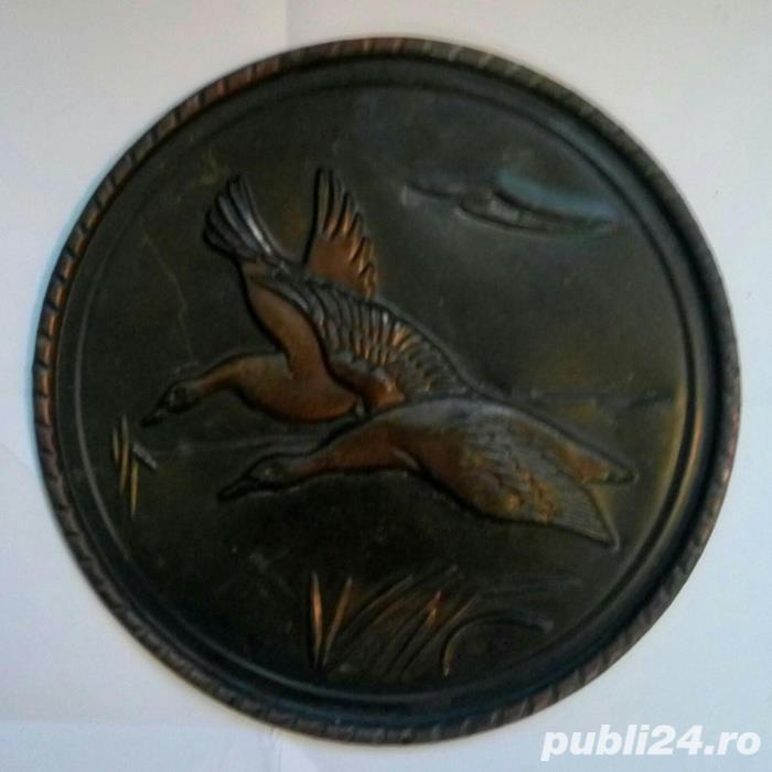 Farfurie decor relief din cupru 22 cm - 150 grame - cadou ideal-lebede