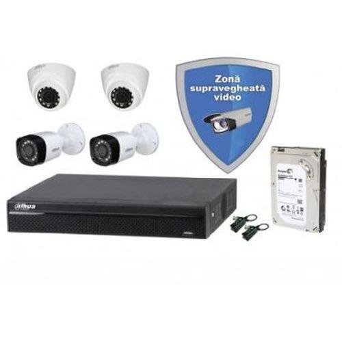 Kit supraveghere video complet cu 4 camere 2 Mp FULL HD IR DAHUA HIKVISION