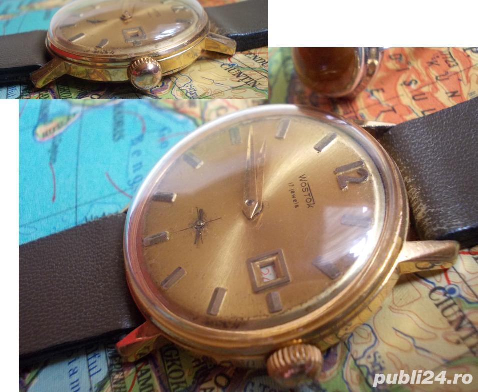 Ceas rusesc de colectie WOSTOK cal. 2605, 17 jewels, placat cu aur