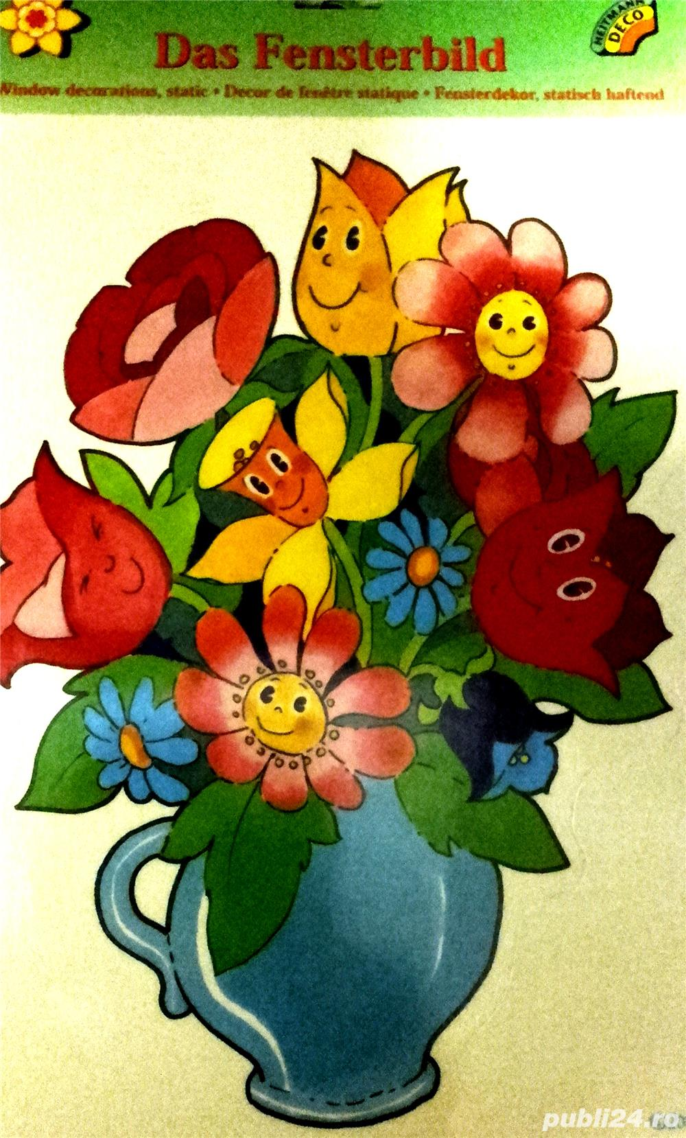Decoratiune sticker pentru fereastra - vaza cu flori