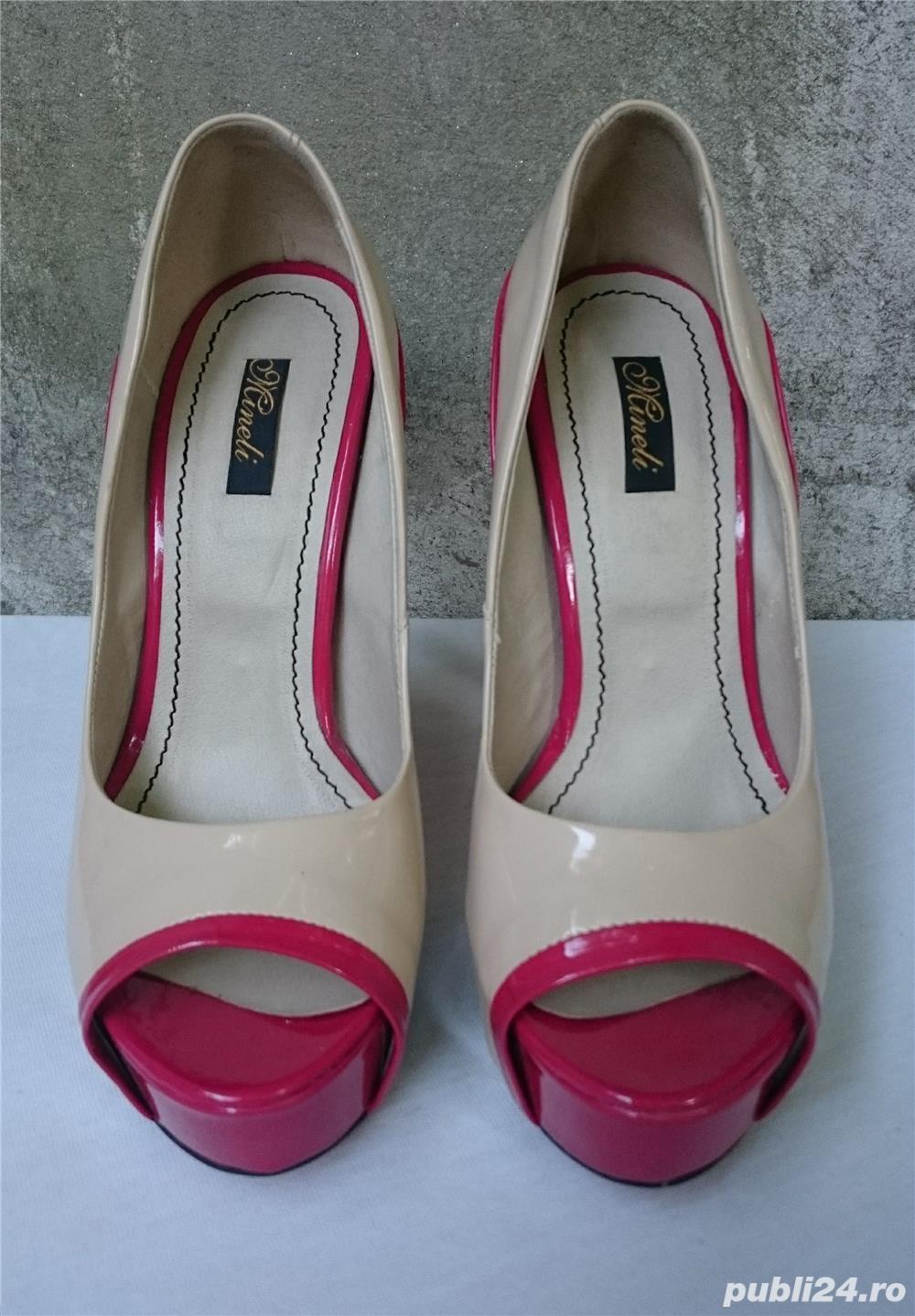 Pantofi dama eleganti Mineli cu toc si platforma marimea 37