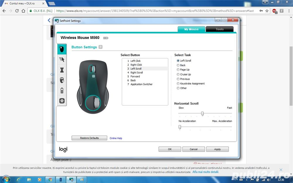 Mouse Wireless Logitech M560, Negru, cu receptor Unifying