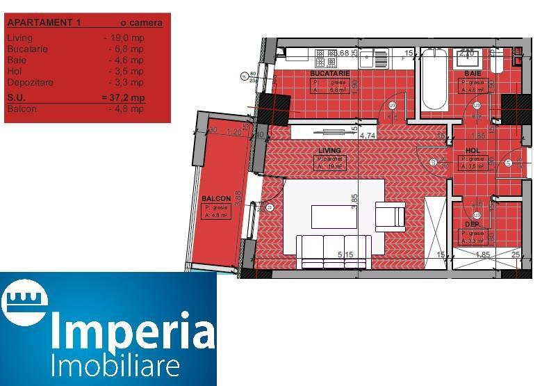Apartamente noi de vanzare, 1 camera, Gara-Billa, Comision 0%