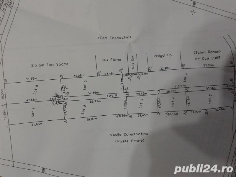 teren snagov sat str crizantemelor 500 mp deschidere 28 metri pret 20 metru