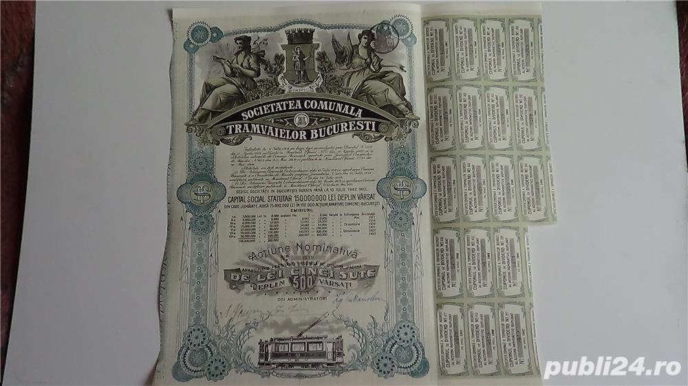 Actiuni vechi Societatea Comunala a Tramvaielor Bucuresti 1923-1943