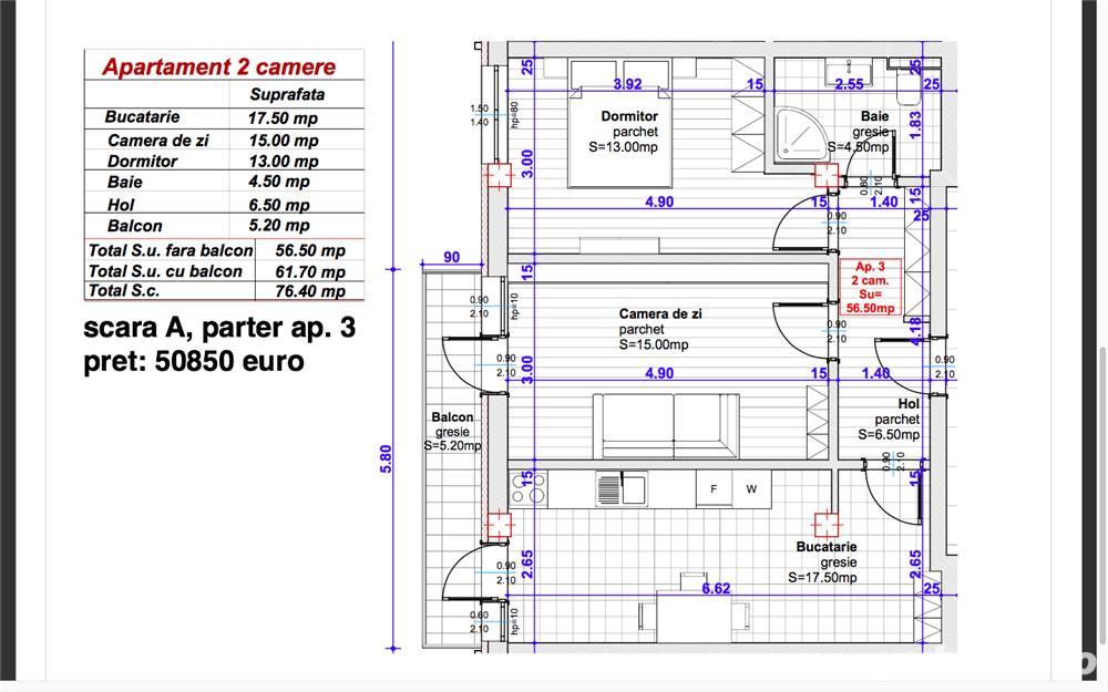 Dezvoltator, 2 camere dec. et.1, 57 mp. utili