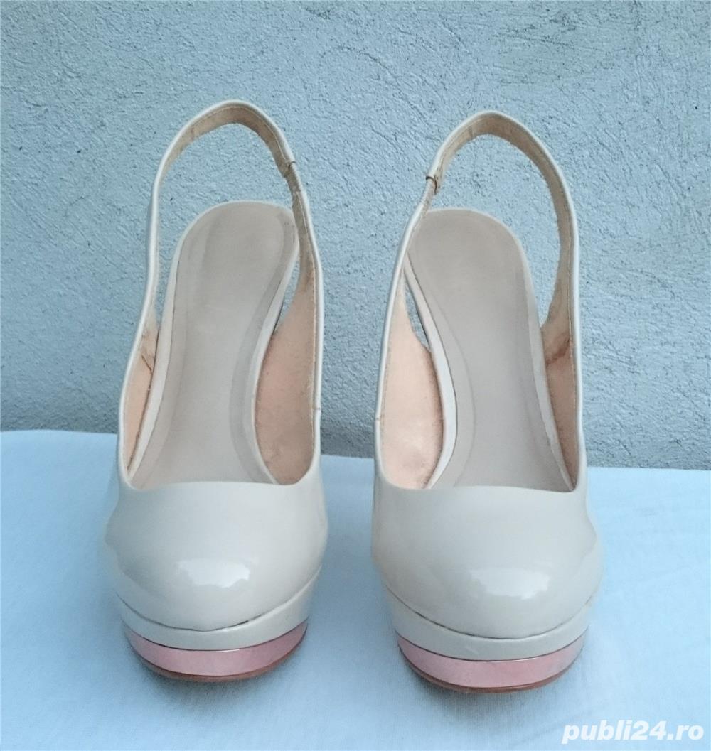 Pantofi dama de vara, sandale piele lac, platforme cu toc Zara Woman