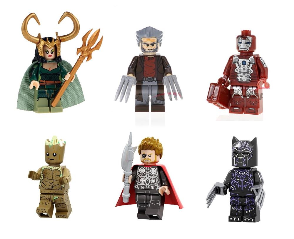 minifigurine tip lego marvel super eroi lady loki old man logan ironman groot thor black panther