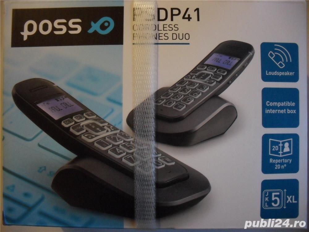 POSS, Model PSDP41DUO, Franta, telefon fix, 2 RECEPTOARE, wireless (fara fir), nou, la cutie, compat