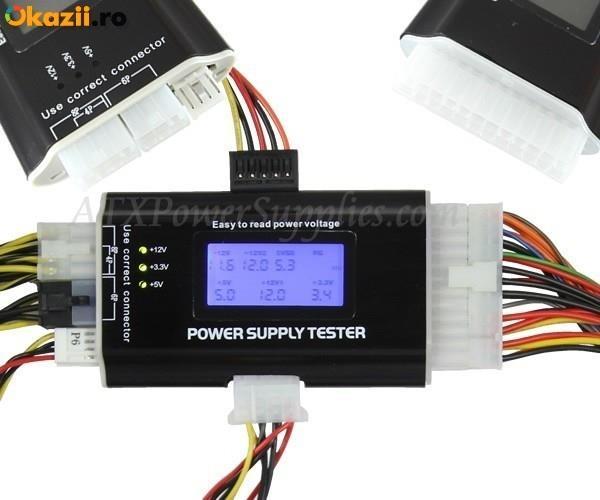 Tester ATX LCD sursa alimentare calculator PC diagnoza tensiuni !