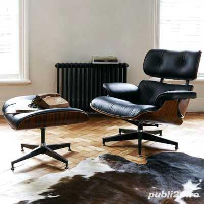 Fotoliu si taburet design Eames Lounge Chair design din piele