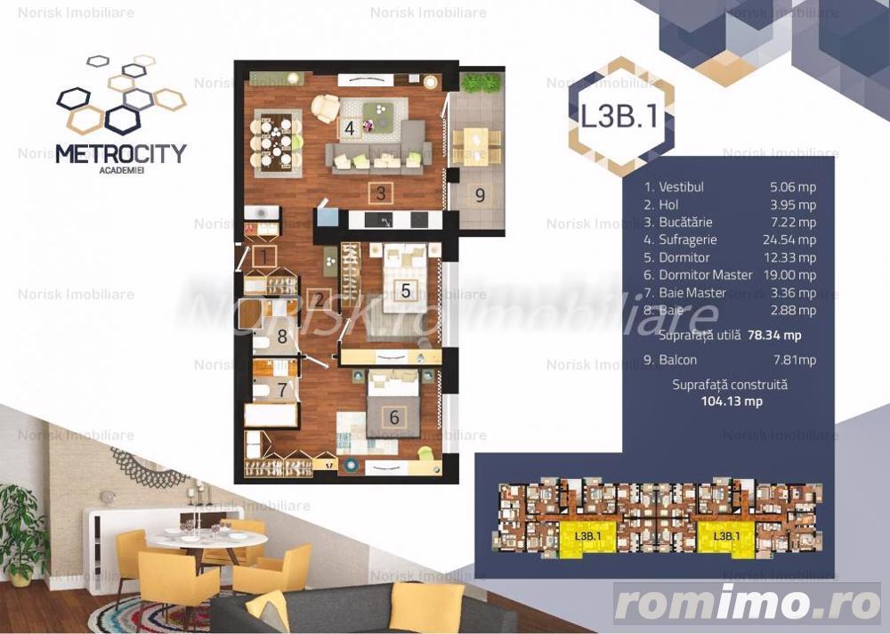 0% Comision-Pret Promo + Parcare - Ap 3 Camere Complex MetroCity ACADEMIEI 104mp