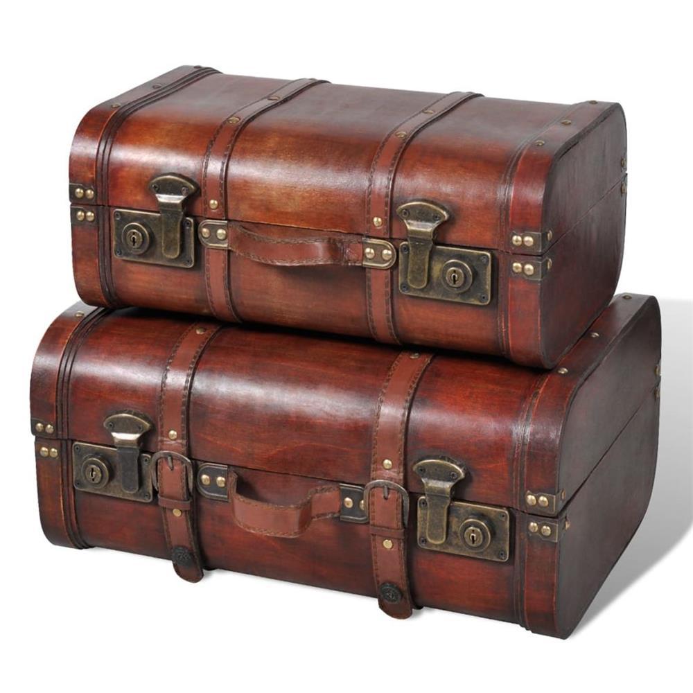 vidaXL Cufăr vintage din lemn, 2 bucăți, maro 240575