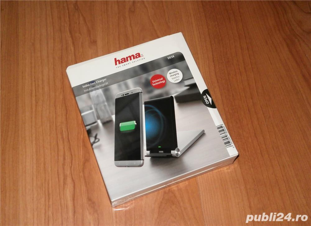 Incarcator HAMA Desk Inductive Charger, wireless Qi , in cutie