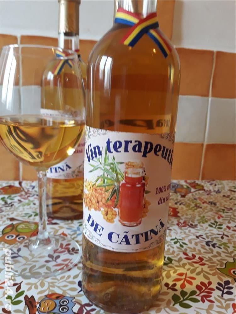 Vând Vin de cătină albă din soiul Mara şi Clara 28 de lei sticla de 750ml