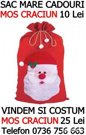 Sac mare cadouri Mos Craciun inaltime 1 metru 10 Lei, vindem si costume Mos Craciun pt adulti 25 Lei