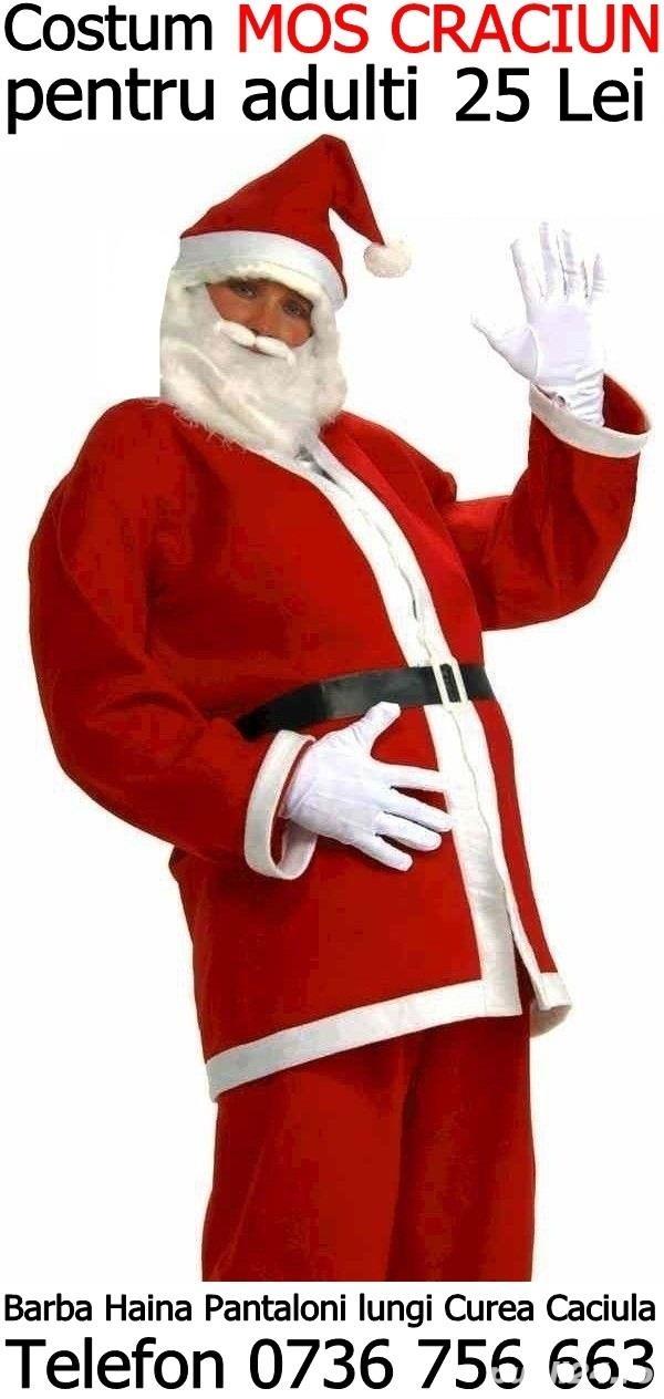 Vindem costum Mos Craciun adulti complet:barba haina pantaloni curea caciula,orice marime:M,L,XL,XXL