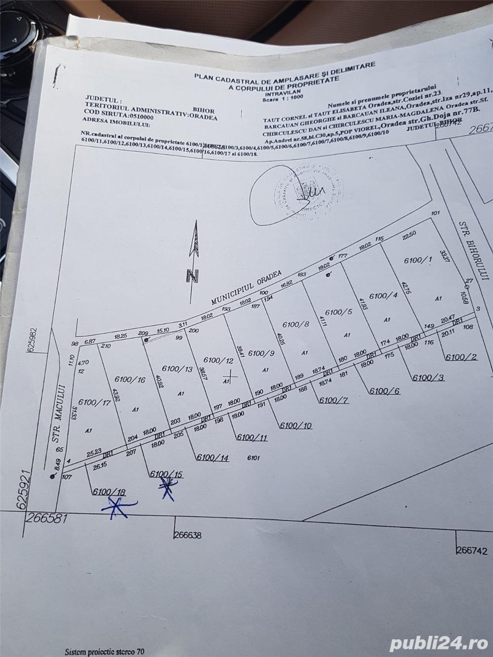 Teren 725mp in Oncea pe platou str. Macului cu apa, canalizare, curent, gaz pe strada, front dublu