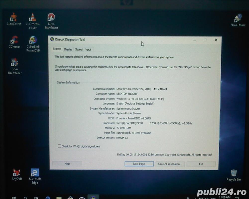 Calculator PC ( sistem computer, unitate) complet , dual core win 10