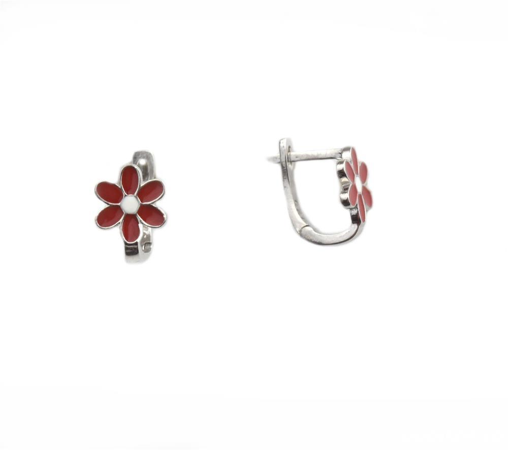 Cercei argint floricele rosii - DA145