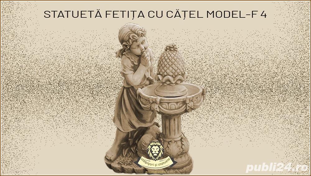 Statueta fetita cu catelus din beton model F4.