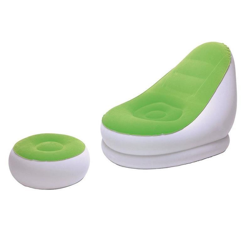 Fotoliu gonflabil cu suport pentru picioare Bestway, verde si portocaliu