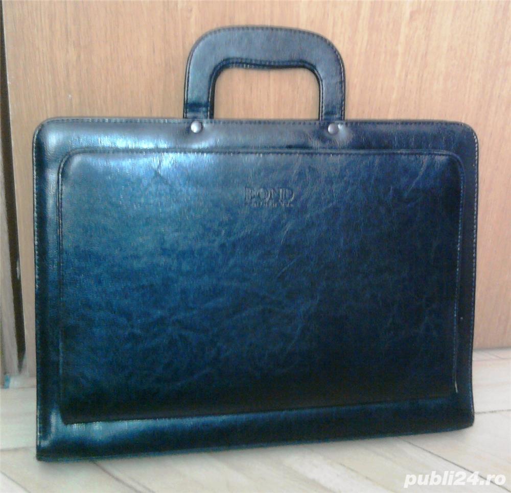 geanta/servieta Bond neagra, din piele